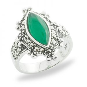 Vintage Marcasite Halo Ring with Marquise Green Agate