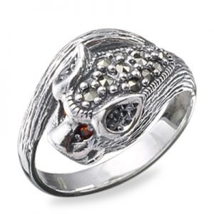 Antique Marcasite Accent Ring with Oval Stone