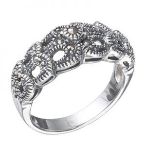 Sterling Silver Marcasite Double Loop Pattern Ring