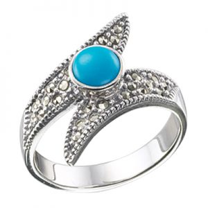 Oval Turquoise & Pointy Bypass Marcasite Ring