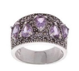 Lilac gemstone Sterling silver marcasite and amethyst ring
