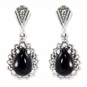 Earrings Pear Onyx Marcasite Halo Drop
